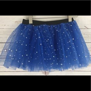 Girl 3 layer blue star sequin sparkling Tutu skirt